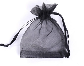 "25pcs Black Organza Gift bags 3""X4"""
