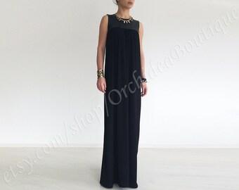 Black maxi dress/ Loose fit maxi dress/ black festival dress/ loose maxi dress/ oversize dress/ Long black dress/ long dress plus size ANIKA