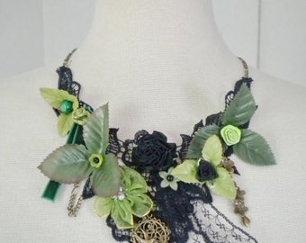 Lace Necklace - Upcycled - Green and black
