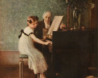 Antique Print, The Music Lesson 1920 wall art vintage color lithograph illustration painting