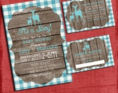 Woodland Deer Baby Shower Gingham Style Invitation Set: Invite + Diaper Raffle Ticket + Book Request - I design you print