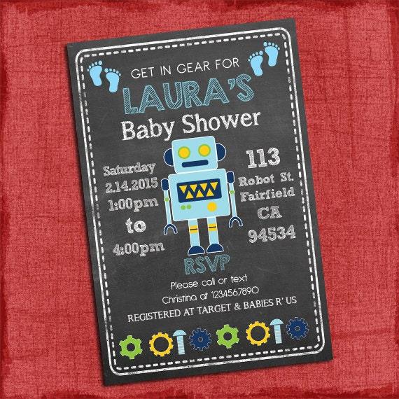 robot baby shower invitation baby boy shower chalkboard style i