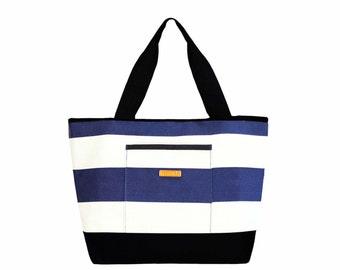 Weekender Tote - Navy Stripe Large Water-resistant tote Beach bag