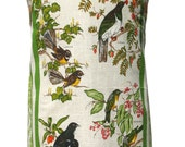 Metro Retro New Zealand Birds - Fauna & Flora HANDMADE Vintage Tea Towel Apron - Birthday  Christmas Gift Idea . OOAK Upcycled