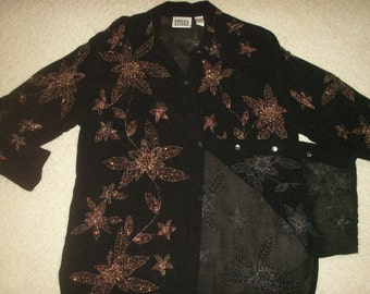 Sequin beaded women's  blouse,sheer chiffon black with copper beads and thread, perfect condition