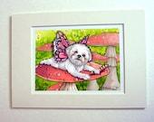 Shih tzu art print puppy Fairy painting 5 x 7 matted art print cute fairy art