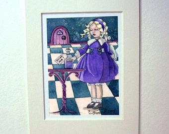 Alice in Wonderland art print Drink Me watercolor painting