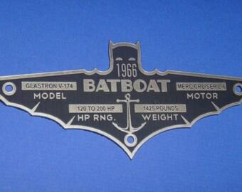 Custom 1966 BATBOAT Specifications Data Plate BATMAN TV Series