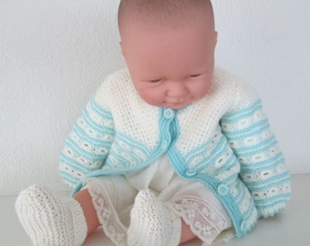 Baby Girl Sweater Hand Knit 6M to 9M Aqua Ivory Lace Handmade Cardigan Wool
