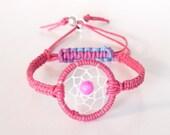 Pink Amethyst Dreamcatcher Bracelet, Native American Inspired, boho bracelet, native bracelet, Pink Bracelet