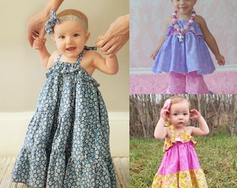 Baby Cora's top, dress and Maxi Dress PDF Pattern sizes Newborn to 18/24months
