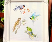 "Giclee Print: ""Pretty British Birds"" (Watercolour painting)"