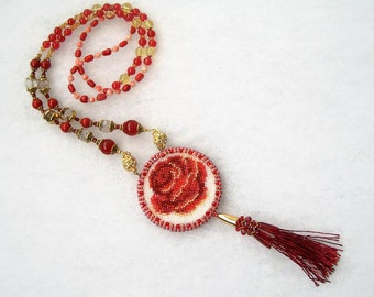 Bead embroidery vintage style double sided pendant with rose flower motif and mirror.