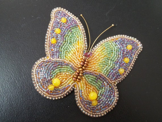 Bead embroidery butterfly brooch by milenasboutique on etsy