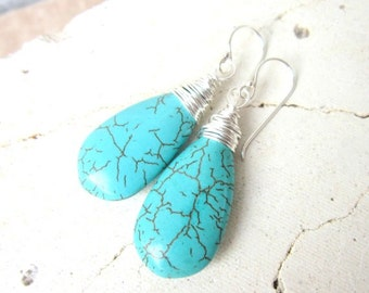 Long Turquoise Drop Earrings. Wire Wrapped Turquoise Howlite Dangle Earrings. Turquoise Jewelry. Teardrop Turquoise Earrings