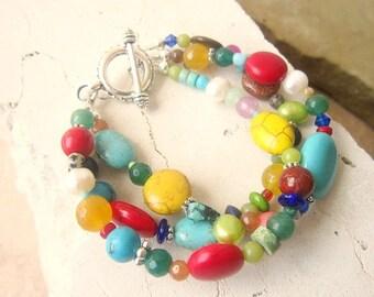 Multi Semi Precious Stone Bracelet. Multi Color Bracelet. Triple Strand Toggle Bracelet. Multi Color Jewelry. Colorful Jewelry. Gift for Her