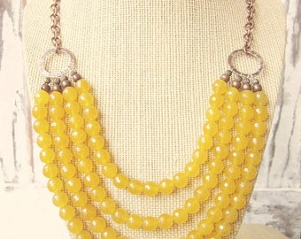 Yellow Jade Bib Necklace. Honey Butterscotch Yellow Multi Strand Necklace.Stone Multi Strand Statement Necklace. Yellow Jade Jewelry