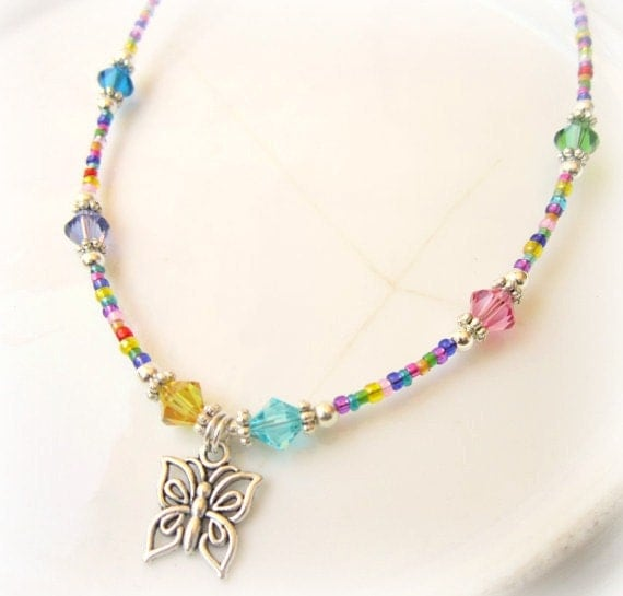Pandora Kids Jewelry: Colorful Child's Butterfly Necklace.Girl's Butterfly Multi