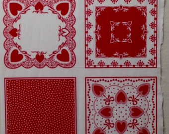 Red & White Hankies - 12 Fabric Squares - Panel - Out of Print