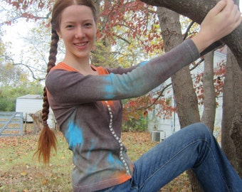 V-neck Button Front Shirt Overdyed in Orange, Brown, and Turquoise