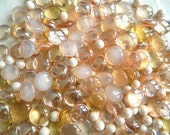 SALE - 100 Glass Gems - BLUSH Pink Mix - Mosaic Supplies/Floral/Wedding/Candle Displays - Half Marbles/Pearls