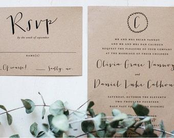 Wedding Invitation, Rustic Wedding Invitation, Printable Wedding Invitation, Happier With You, Kraft Wedding Invitation, Calligraphy - #S2