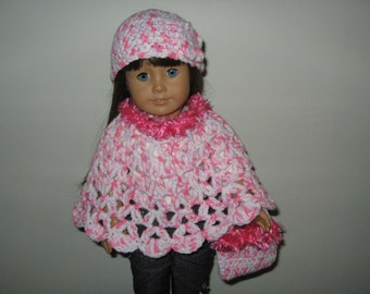 "Hand-Crocheted white and Pink with pink fur trim 3 piece Poncho set with Flower Motifs for 18"" 18 inch Dolls"