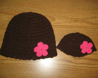 """Brown with Bright Pink flowers Matching Crocheted Hats for 18"""" American Girl Dolls - also fits Bitty Baby -  and Girls"""