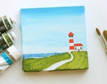 Original acrylic painting Lighthouse miniature art