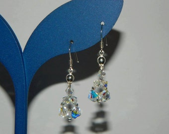 E0027 Bridal drop earrings with Swarovski crystals and sterling silver earwires