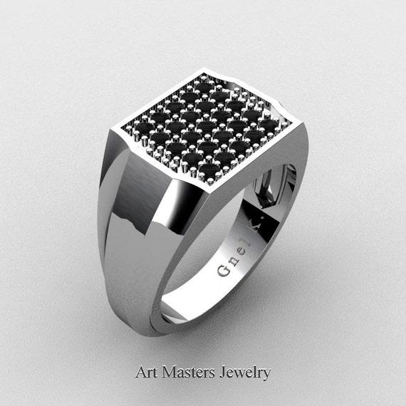 Mens Modern 14k White Gold Micro Pave Black Diamond Designer