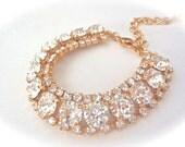 Gold crystal bracelet ~ Statement bracelet ~ Cuff ~ Sparkling ~ Halo ~ Swarovski crystals ~ Brides bracelet ~ STUNNING - Jewelry ~ SOPHIA