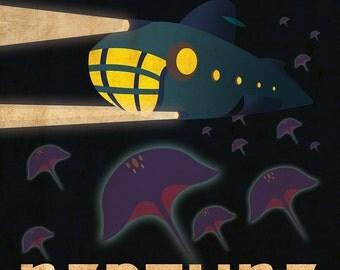 Neptune Retro Planetary Travel Poster