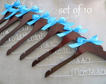 SET OF 10 Bridesmaid Hangers, Bridal Hanger, Personalized Hangers, Bridal Party Gift, Wedding Hangers, Bridesmaid Gift Idea, Custom Hangers