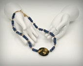 Gold and Tanzanite Necklace, Cool Tempo Necklace, 23-Karat Gold Leaf on Lava Stone, Tanzanite, Pyrite, Toggle Clasp, 17""
