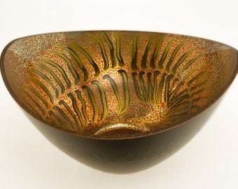 Fern Gilded Gold and Black Glass Bowl, Verre Eglomisé, 23-Karat Gold Leaf, Hand Painted Fern Design, Home Decor, Gilded & Painted