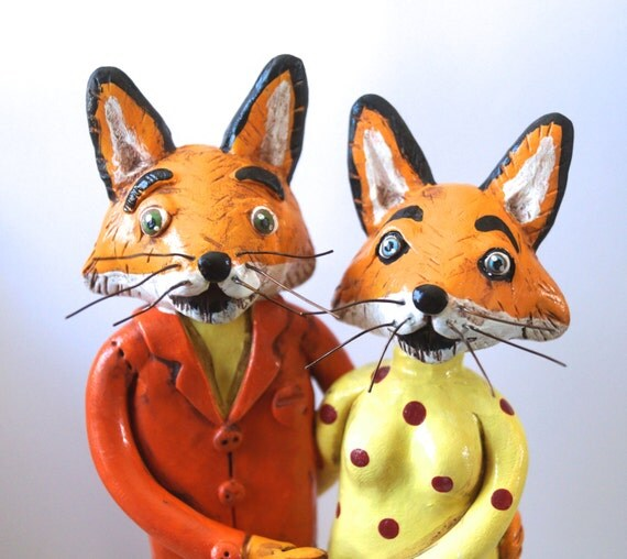 Foxy Couple Personalized wedding cake topper