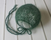 Newborn Hunter Green Luxury Lightweight Lace Knit Classic Mohair Bonnet - Ready to Ship Photography Prop, RTS Photo Prop