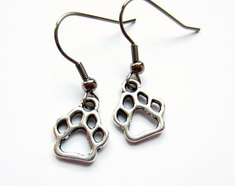 Paw Print Earrings - Tiny Dog Paw Earrings - Silver Cat Paw Earrings - Dog Lover Gift - Crazy Cat Lady Gift - Animal Lover Jewelry