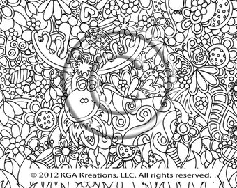 instant pdf download coloring page hand drawn zentangle inspired psychedelic garden moose abstract zendoodle - Psychedelic Hippie Coloring Pages