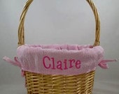 Personalized Pink Gingham Large Easter Basket / Monogrammed Large Traditional Wicker Easter Basket / Monogrammed Easter Basket / Gift