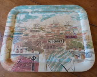 Vintage French serving tray Dubonnet Paris bistro decor 1960s advertising pub tray w eiffel tower montmartre moulin rouge arc de triomphe