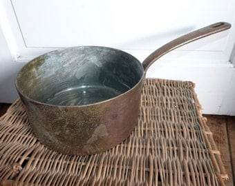 Antique French copper pan pot w iron handle 1800s PARIS stamped saucepan kitchenware France French country cottage cooking kitchen ware gift