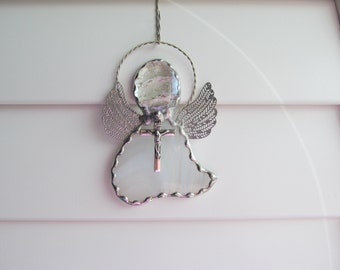Stained Glass Angel in White Baroque Glass - Angel Ornament/Suncatcher/Gift Tag with Tibetan Silver Crucifix Charm