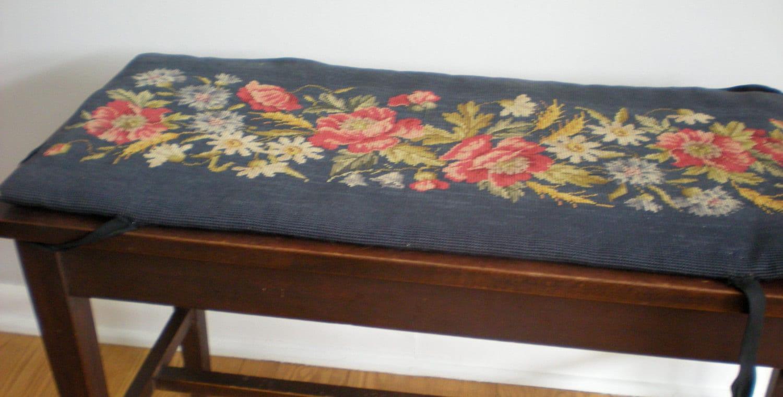Piano Bench Cushion Pad Hand Made Needlepoint Cover Dark Navy