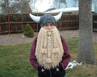 Bearded Silver Beads Viking - Dwarven Helmet Big Horns add Hair + 5 dollars