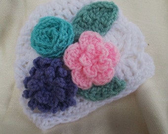 Spring Crochet Hat with Flowers
