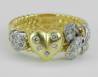 Diamond Heart Ring 18K Yellow Gold Ring Statement Right Hand Ring Size 7.75