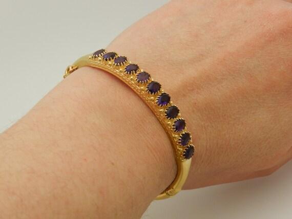 Amethyst Bangle Bracelet 14K Yellow Gold Vintage Bracelet Estate 7.00 ct Oval Purple