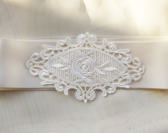 Bridal Sash Ivory Satin Ribbon and Ivory Lace For Wedding or Special Occasions